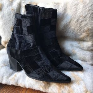 Velvet Check Tall Heeled Bootie